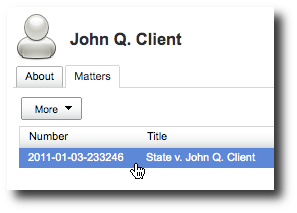 Search for matters by contact name